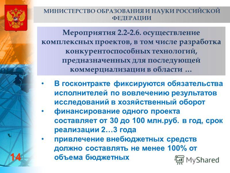 Мероприятия 2.2-2.6. осуществление комплексных проектов, в том числе разработка конкурентоспособных технологий, предназначенных для последующей коммерциализации в области … 14 МИНИСТЕРСТВО ОБРАЗОВАНИЯ И НАУКИ РОССИЙСКОЙ ФЕДЕРАЦИИ В госконтракте фикси