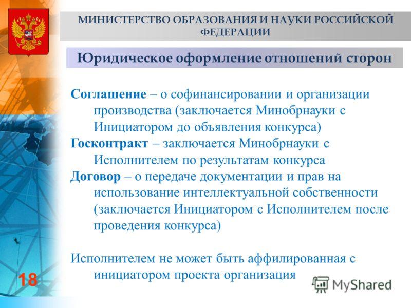 Юридическое оформление отношений сторон 18 МИНИСТЕРСТВО ОБРАЗОВАНИЯ И НАУКИ РОССИЙСКОЙ ФЕДЕРАЦИИ Соглашение – о софинансировании и организации производства (заключается Минобрнауки с Инициатором до объявления конкурса) Госконтракт – заключается Миноб
