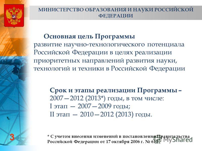 3 Основная цель Программы развитие научно-технологического потенциала Российской Федерации в целях реализации приоритетных направлений развития науки, технологий и техники в Российской Федерации Срок и этапы реализации Программы – 20072012 (2013*) го