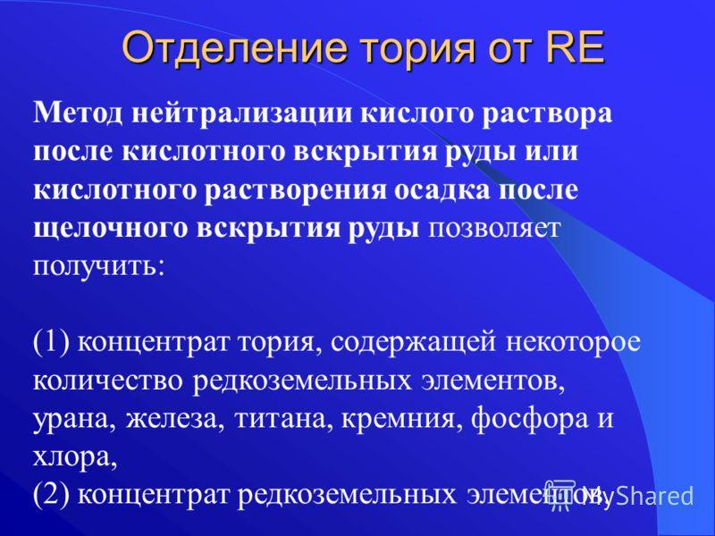 Отделение тория от RE Метод нейтрализации кислого раствора после кислотного вскрытия руды или кислотного растворения осадка после щелочного вскрытия руды позволяет получить: (1) концентрат тория, содержащей некоторое количество редкоземельных элемент