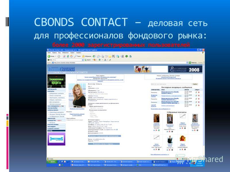 CBONDS CONTACT – деловая сеть для профессионалов фондового рынка: более 2000 зарегистрированных пользователей