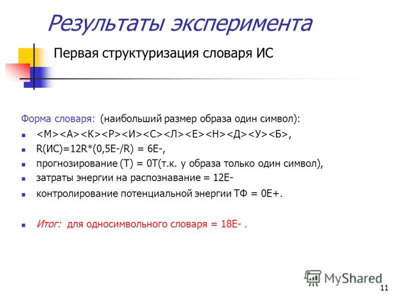 11 Результаты эксперимента Первая структуризация словаря ИС Форма словаря: (наибольший размер образа один символ):, R(ИС)=12R*(0,5Е-/R) = 6E-, прогнозирование (Т) = 0Т(т.к. у образа только один символ), затраты энергии на распознавание = 12E- контрол