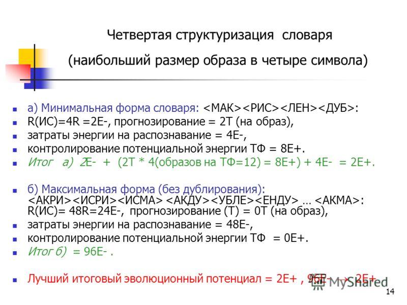 14 Четвертая структуризация словаря (наибольший размер образа в четыре символа) а) Минимальная форма словаря: : R(ИС)=4R =2Е-, прогнозирование = 2Т (на образ), затраты энергии на распознавание = 4E-, контролирование потенциальной энергии ТФ = 8E+. Ит