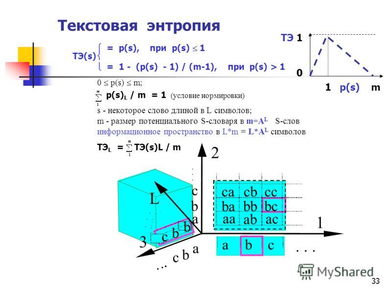 33 Текстовая энтропия = p(s), при p(s) 1 ТЭ(s) = 1 - (p(s) - 1) / (m-1), при p(s) > 1 0 p(s) m; p(s) L / m = 1 (условие нормировки) s - некоторое слово длиной в L символов; m - размер потенциального S словаря в m=A L S слов информационное пространств