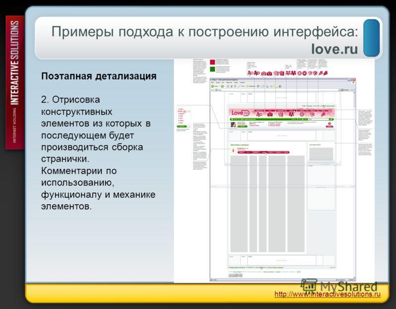 Примеры подхода к построению интерфейса: love.ru Поэтапная детализация 2. Отрисовка конструктивных элементов из которых в последующем будет производиться сборка странички. Комментарии по использованию, функционалу и механике элементов. http://www.int