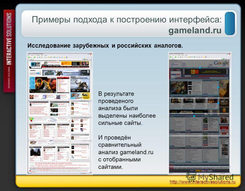 Примеры подхода к построению интерфейса: gameland.ru http://www.interactivesolutions.ru Исследование зарубежных и российских аналогов. В результате проведеного анализа были выделены наиболее сильные сайты. И проведён сравнительный анализ gameland.ru