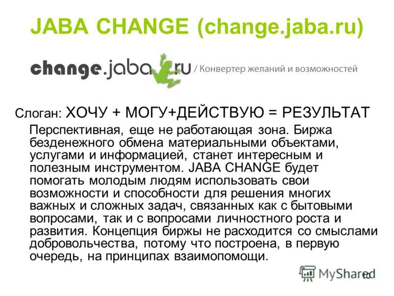 10 JABA CHANGE (change.jaba.ru) Слоган: ХОЧУ + МОГУ+ДЕЙСТВУЮ = РЕЗУЛЬТАТ Перспективная, еще не работающая зона. Биржа безденежного обмена материальными объектами, услугами и информацией, станет интересным и полезным инструментом. JABA CHANGE будет по