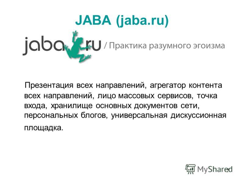 7 JABA (jaba.ru) Презентация всех направлений, агрегатор контента всех направлений, лицо массовых сервисов, точка входа, хранилище основных документов сети, персональных блогов, универсальная дискуссионная площадка.