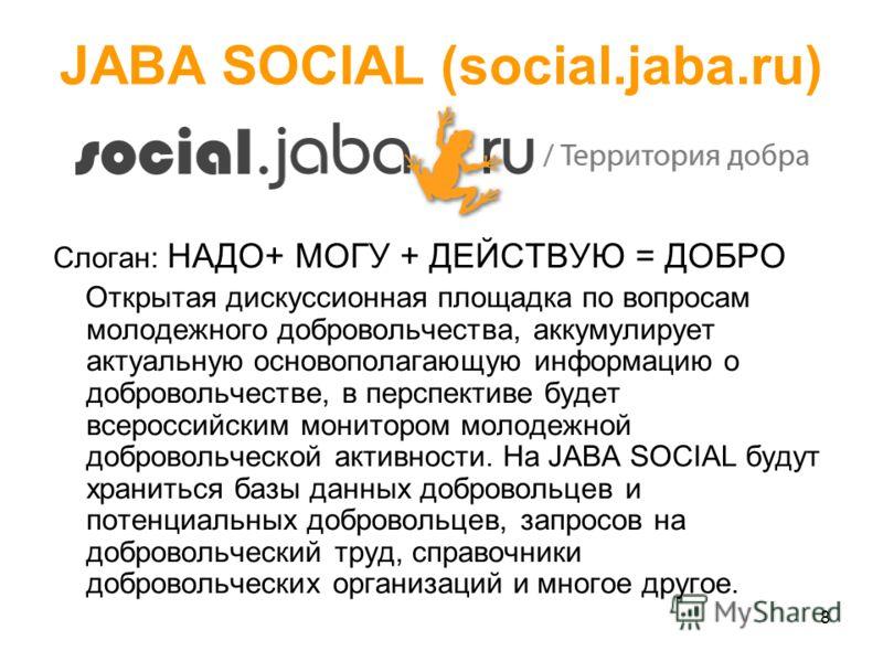 8 JABA SOCIAL (social.jaba.ru) Слоган: НАДО+ МОГУ + ДЕЙСТВУЮ = ДОБРО Открытая дискуссионная площадка по вопросам молодежного добровольчества, аккумулирует актуальную основополагающую информацию о добровольчестве, в перспективе будет всероссийским мон