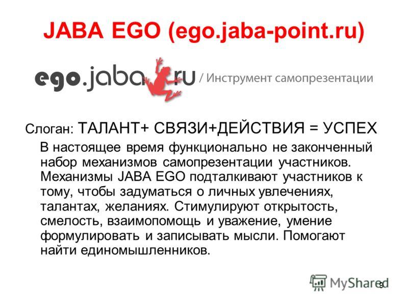 9 JABA EGO (ego.jaba-point.ru) Слоган: ТАЛАНТ+ СВЯЗИ+ДЕЙСТВИЯ = УСПЕХ В настоящее время функционально не законченный набор механизмов самопрезентации участников. Механизмы JABA EGO подталкивают участников к тому, чтобы задуматься о личных увлечениях,