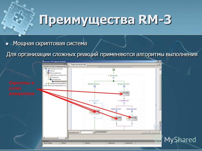 Мощная скриптовая система Для организации сложных реакций применяются алгоритмы выполнения Преимущества RM-3 Скрипты в узлах алгоритма