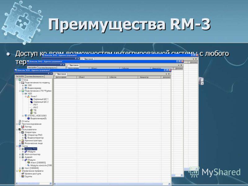 Преимущества RM-3 Доступ ко всем возможностям интегрированной системы с любого терминала (компьютера)