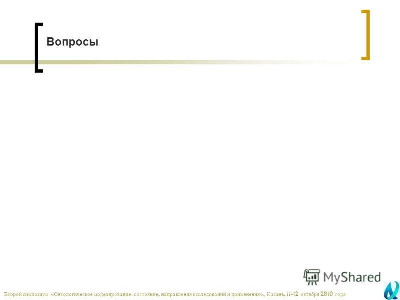 Вопросы Второй симпозиум « Онтологическое моделирование : состояние, направления исследований и применения », Казань, 11-12 октября 2010 года