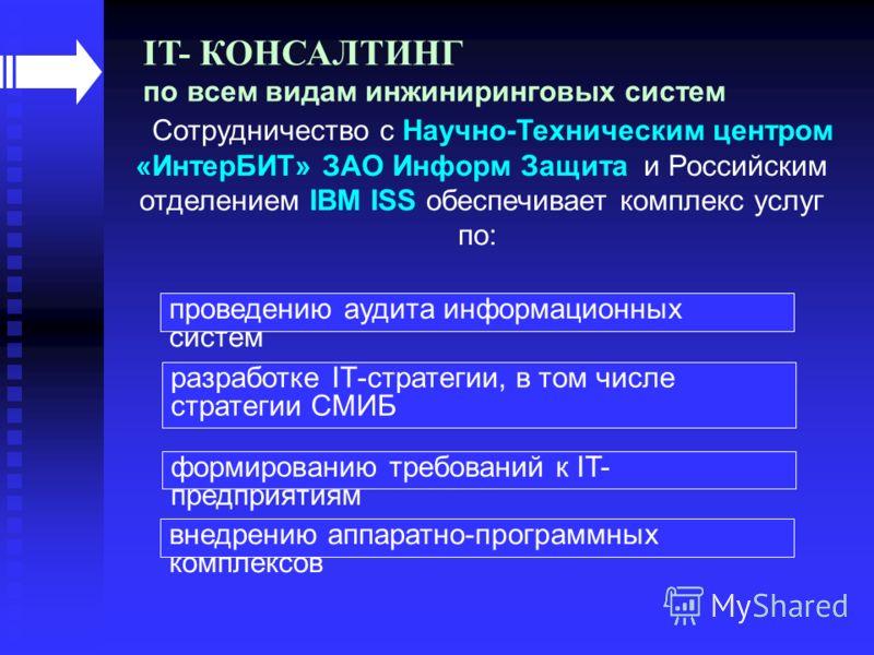 Сотрудничество с Научно-Техническим центром «ИнтерБИТ» ЗАО Информ Защита и Российским отделением IBM ISS обеспечивает комплекс услуг по: IT- КОНСАЛТИНГ по всем видам инжиниринговых систем проведению аудита информационных систем разработке IТ-стратеги