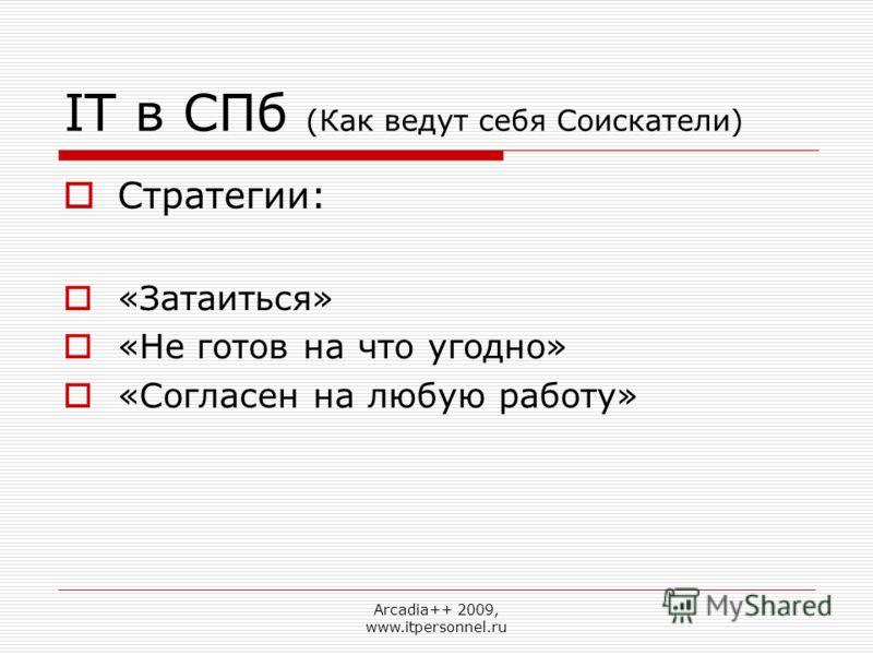 Arcadia++ 2009, www.itpersonnel.ru IT в СПб (Как ведут себя Соискатели) Стратегии: «Затаиться» «Не готов на что угодно» «Согласен на любую работу»