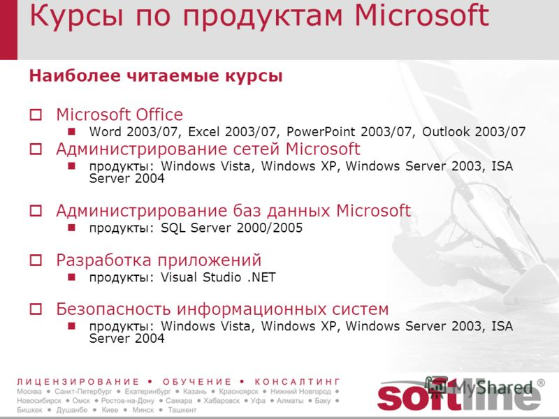 Курсы по продуктам Microsoft Наиболее читаемые курсы Microsoft Office Word 2003/07, Excel 2003/07, PowerPoint 2003/07, Outlook 2003/07 Администрирование сетей Microsoft продукты: Windows Vista, Windows XP, Windows Server 2003, ISA Server 2004 Админис
