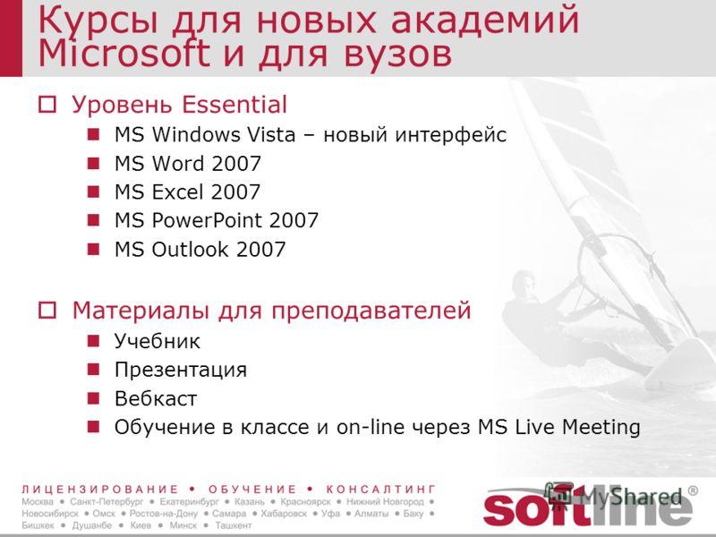 Курсы для новых академий Microsoft и для вузов Уровень Essential MS Windows Vista – новый интерфейс MS Word 2007 MS Excel 2007 MS PowerPoint 2007 MS Outlook 2007 Материалы для преподавателей Учебник Презентация Вебкаст Обучение в классе и on-line чер