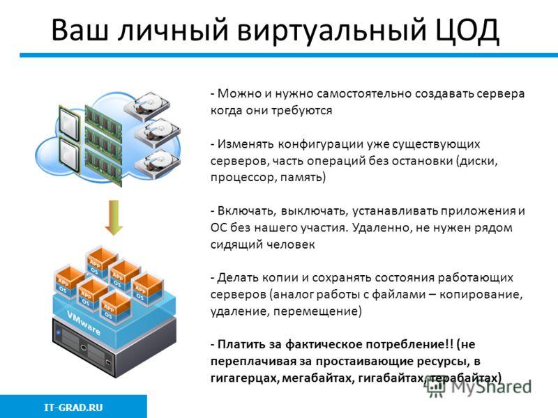 Ваш личный виртуальный ЦОД IT-GRAD.RU - Можно и нужно самостоятельно создавать сервера когда они требуются - Изменять конфигурации уже существующих серверов, часть операций без остановки (диски, процессор, память) - Включать, выключать, устанавливать