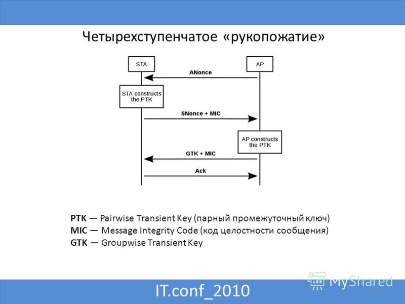 IT.conf_2010 14 Четырехступенчатое «рукопожатие» PTK Pairwise Transient Key (парный промежуточный ключ) MIC Message Integrity Code (код целостности сообщения) GTK Groupwise Transient Key