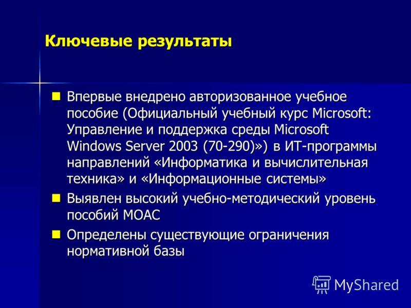 Ключевые результаты Впервые внедрено авторизованное учебное пособие (Официальный учебный курс Microsoft: Управление и поддержка среды Microsoft Windows Server 2003 (70-290)») в ИТ-программы направлений «Информатика и вычислительная техника» и «Информ