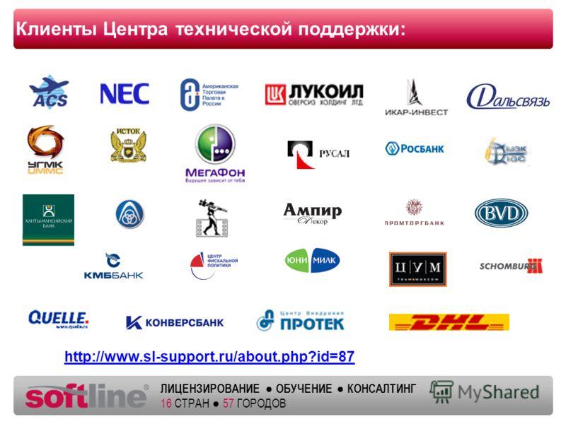 Оазец заголовка ЛИЦЕНЗИРОВАНИЕ ОБУЧЕНИЕ КОНСАЛТИНГ 16 СТРАН 57 ГОРОДОВ Клиенты Центра технической поддержки: http://www.sl-support.ru/about.php?id=87