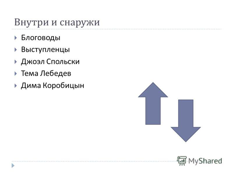 Внутри и снаружи Блоговоды Выступленцы Джоэл Спольски Тема Лебедев Дима Коробицын