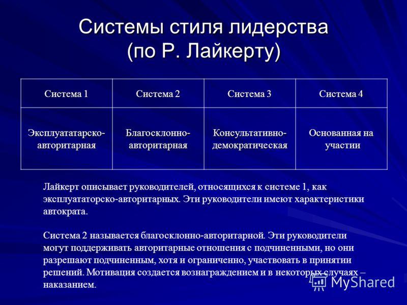 Системы стиля лидерства (по Р. Лайкерту) Система 1 Система 2 Система 3 Система 4 Эксплуататарско-авторитарнаяБлагосклонно-авторитарнаяКонсультативно-демократическая Основанная на участии участии Лайкерт описывает руководителей, относящихся к системе