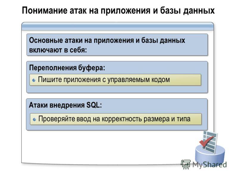 Понимание атак на приложения и базы данных Основные атаки на приложения и базы данных включают в себя: Переполнения буфера: Пишите приложения с управляемым кодом Атаки внедрения SQL: Проверяйте ввод на корректность размера и типа