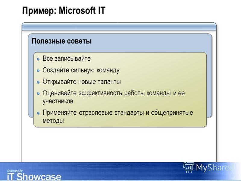 Пример: Microsoft IT Полезные советы Все записывайте Создайте сильную команду Открывайте новые таланты Оценивайте эффективность работы команды и ее участников Применяйте отраслевые стандарты и общепринятые методы Все записывайте Создайте сильную кома