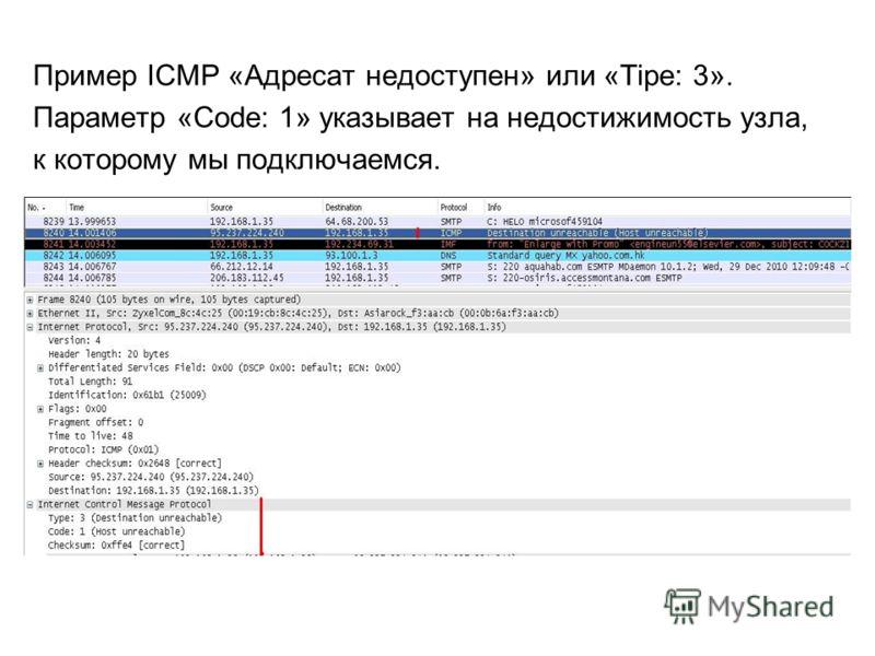 Пример ICMP «Адресат недоступен» или «Tipe: 3». Параметр «Code: 1» указывает на недостижимость узла, к которому мы подключаемся.