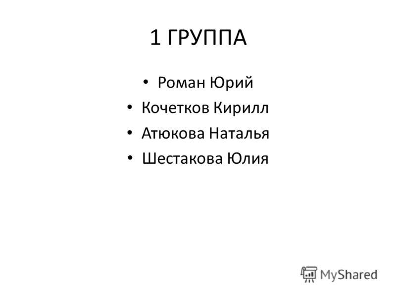 1 ГРУППА Роман Юрий Кочетков Кирилл Атюкова Наталья Шестакова Юлия