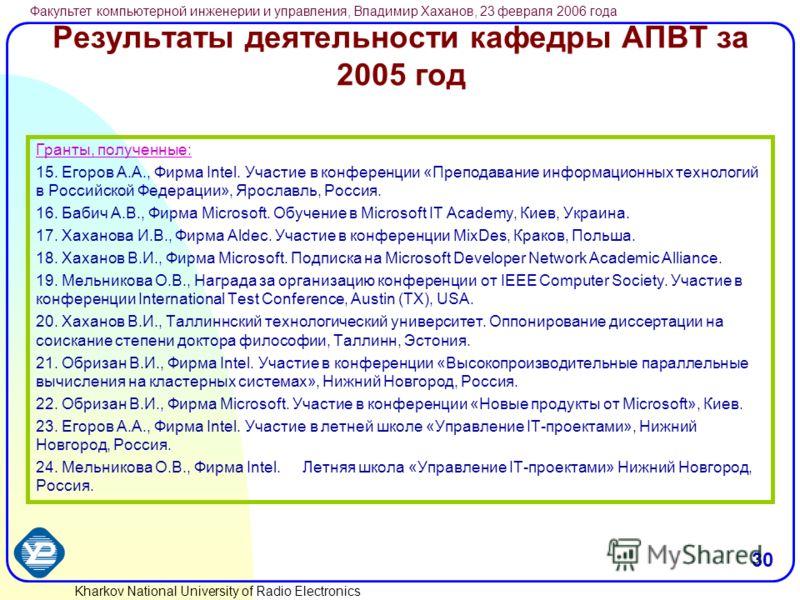 Kharkov National University of Radio Electronics Факультет компьютерной инженерии и управления, Владимир Хаханов, 23 февраля 2006 года 30 Результаты деятельности кафедры АПВТ за 2005 год Гранты, полученные: 15. Егоров А.А., Фирма Intel. Участие в кон