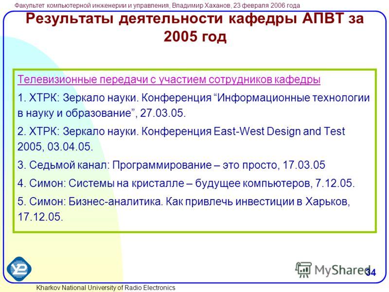 Kharkov National University of Radio Electronics Факультет компьютерной инженерии и управления, Владимир Хаханов, 23 февраля 2006 года 34 Результаты деятельности кафедры АПВТ за 2005 год Телевизионные передачи с участием сотрудников кафедры 1. ХТРК: