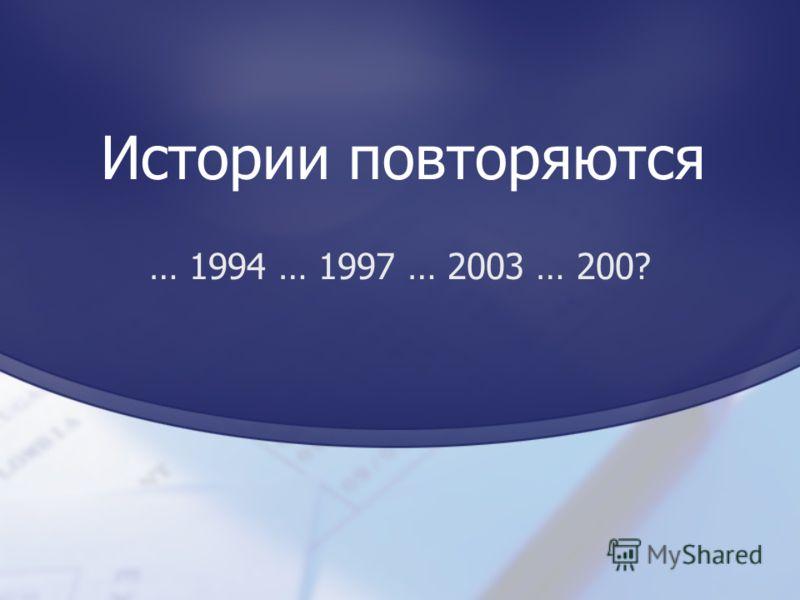 Истории повторяются … 1994 … 1997 … 2003 … 200?