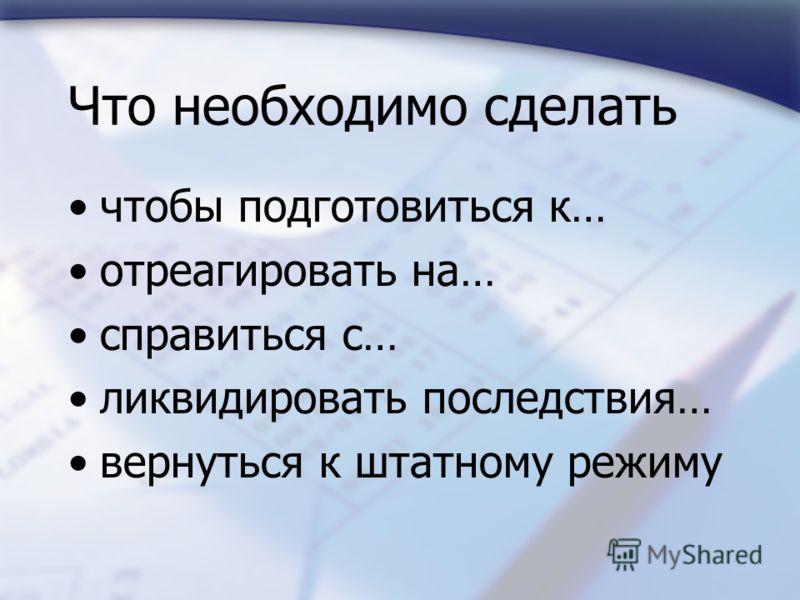 Что необходимо сделать чтобы подготовиться к… отреагировать на… справиться с… ликвидировать последствия… вернуться к штатному режиму