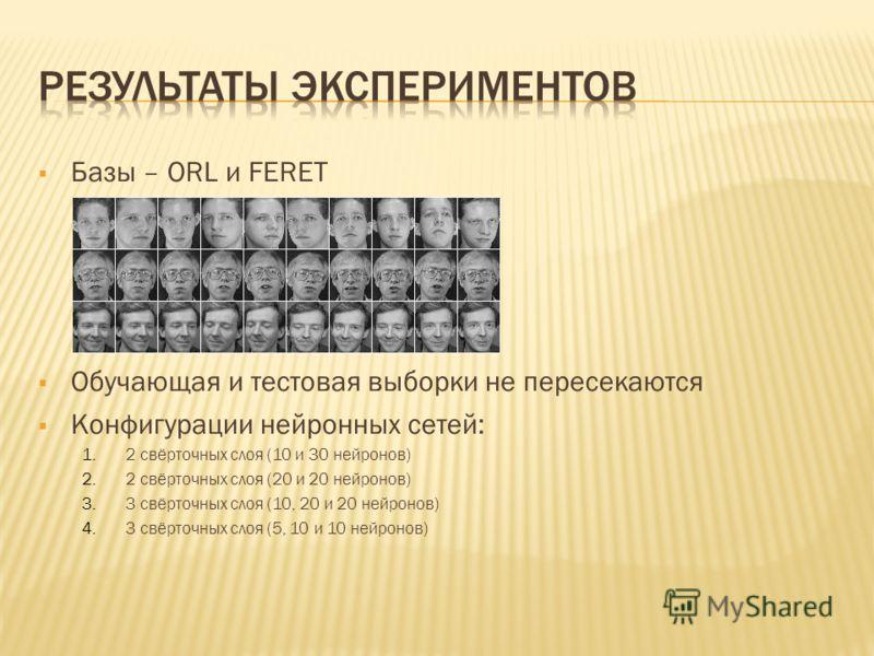Базы – ORL и FERET Обучающая и тестовая выборки не пересекаются Конфигурации нейронных сетей: 1.2 свёрточных слоя (10 и 30 нейронов) 2.2 свёрточных слоя (20 и 20 нейронов) 3.3 свёрточных слоя (10, 20 и 20 нейронов) 4.3 свёрточных слоя (5, 10 и 10 ней