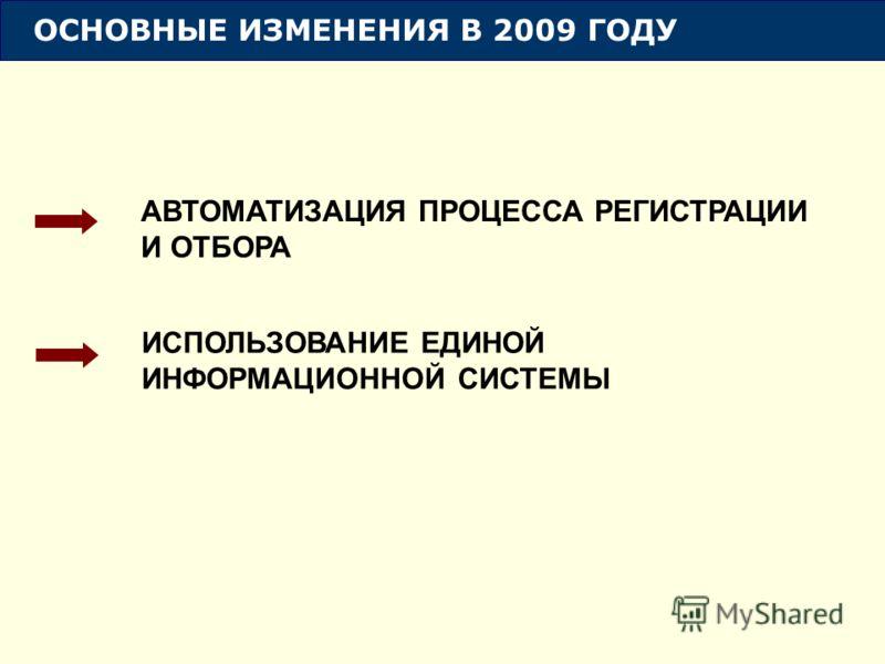 ОСНОВНЫЕ ИЗМЕНЕНИЯ В 2009 ГОДУ АВТОМАТИЗАЦИЯ ПРОЦЕССА РЕГИСТРАЦИИ И ОТБОРА ИСПОЛЬЗОВАНИЕ ЕДИНОЙ ИНФОРМАЦИОННОЙ СИСТЕМЫ