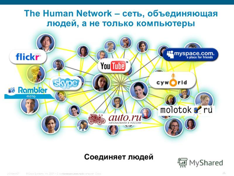 © Cisco Systems, Inc, 2007 г. С сохранением всех прав.Конфиденциальный материал CiscoUCMarch07 # Соединяет людей The Human Network – сеть, объединяющая людей, а не только компьютеры