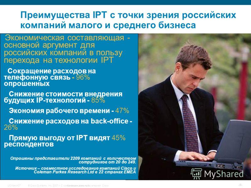 © Cisco Systems, Inc, 2007 г. С сохранением всех прав.Конфиденциальный материал CiscoUCMarch07 # Преимущества IPT с точки зрения российских компаний малого и среднего бизнеса Экономическая составляющая - основной аргумент для российских компаний в по
