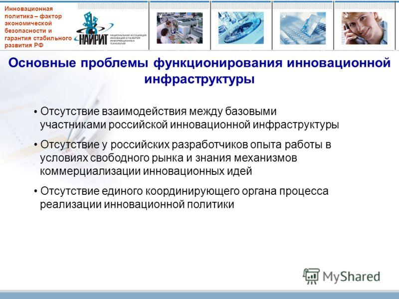 Инновационная политика – фактор экономической безопасности и гарантия стабильного развития РФ Основные проблемы функционирования инновационной инфраструктуры Отсутствие взаимодействия между базовыми участниками российской инновационной инфраструктуры