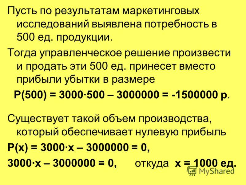 Пусть по результатам маркетинговых исследований выявлена потребность в 500 ед. продукции. Тогда управленческое решение произвести и продать эти 500 ед. принесет вместо прибыли убытки в размере Р(500) = 3000·500 – 3000000 = -1500000 р. Существует тако