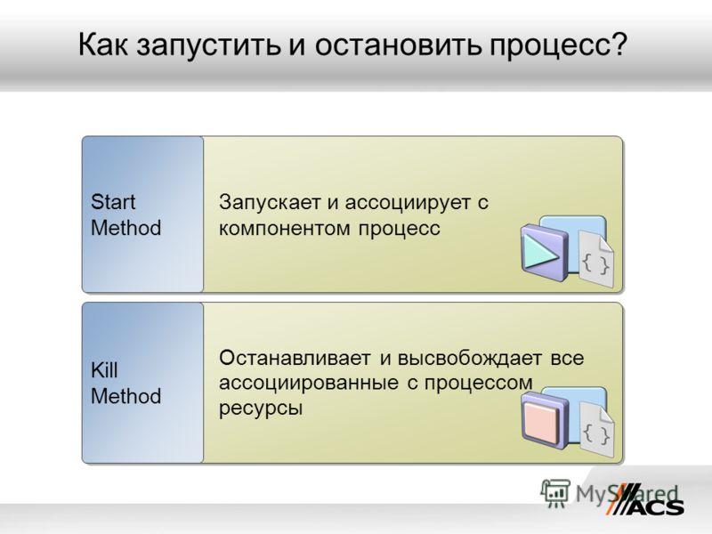 Как запустить и остановить процесс? Запускает и ассоциирует с компонентом процесс Start Method Останавливает и высвобождает все ассоциированные с процессом ресурсы Kill Method