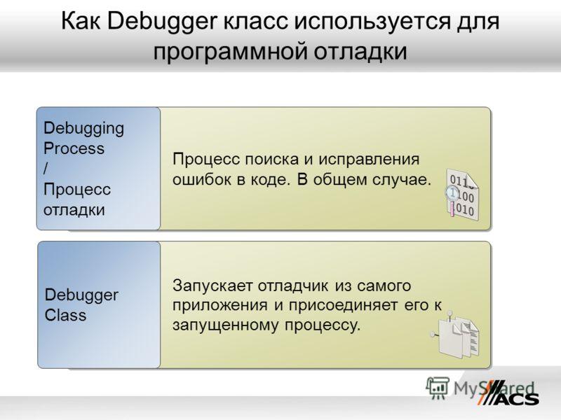 Как Debugger класс используется для программной отладки Процесс поиска и исправления ошибок в коде. В общем случае. Debugging Process / Процесс отладки Запускает отладчик из самого приложения и присоединяет его к запущенному процессу. Debugger Class