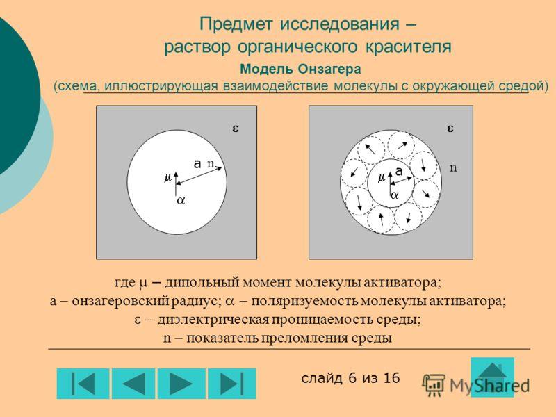 Модель Онзагера (схема, иллюстрирующая взаимодействие молекулы с окружающей средой) а а где – дипольный момент молекулы активатора; а – онзагеровский радиус; поляризуемость молекулы активатора; диэлектрическая проницаемость среды; n – показатель прел