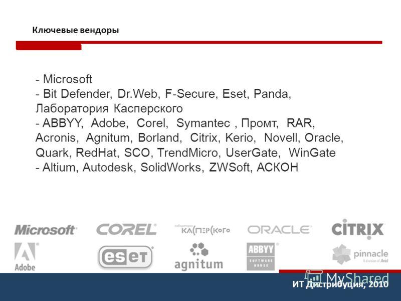 ИТ Дистрибуция, 2010 Ключевые вендоры - Microsoft - Bit Defender, Dr.Web, F-Secure, Eset, Panda, Лаборатория Касперского - ABBYY, Adobe, Corel, Symantec, Промт, RAR, Acronis, Agnitum, Borland, Citrix, Kerio, Novell, Oracle, Quark, RedHat, SCO, TrendM