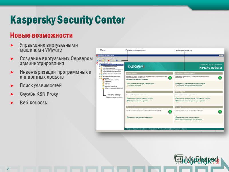 Управление виртуальными машинами VMware Создание виртуальных Сервером администрирования Инвентаризация программных и аппаратных средств Поиск уязвимостей Служба KSN Proxy Веб-консоль 24