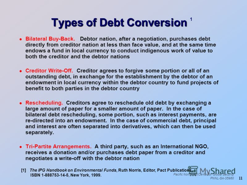 11 Pacific Northwest Center for Global Security PNNL-SA-35980 Types of Debt Conversion Types of Debt Conversion 1 l Bilateral Buy-Back. Debtor nation, after a negotiation, purchases debt directly from creditor nation at less than face value, and at t