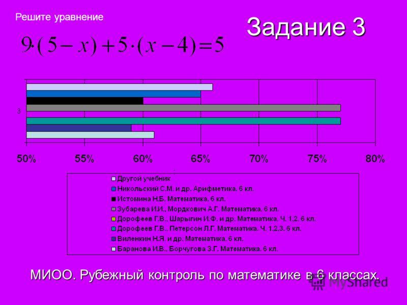 Задание 3 МИОО. Рубежный контроль по математике в 6 классах. Решите уравнение ;