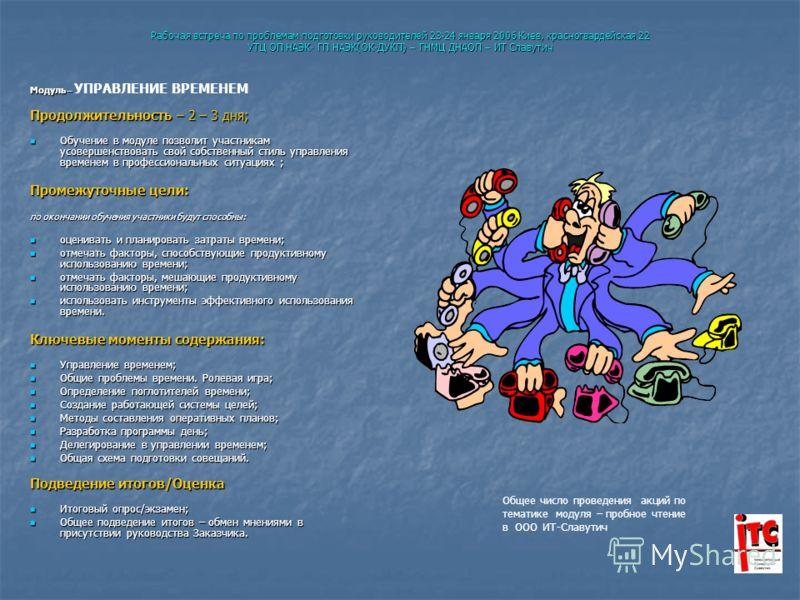 Рабочая встреча по проблемам подготовки руководителей 23-24 января 2006 Киев, красногвардейская 22 УТЦ ОП НАЭК- ГП НАЭК(ОК-ДУКП) – ГНМЦ ДНАОП – ИТ Славутич Модуль – Модуль – УПРАВЛЕНИЕ ВРЕМЕНЕМ Продолжительность – 2 – 3 дня; Обучение в модуле позволи
