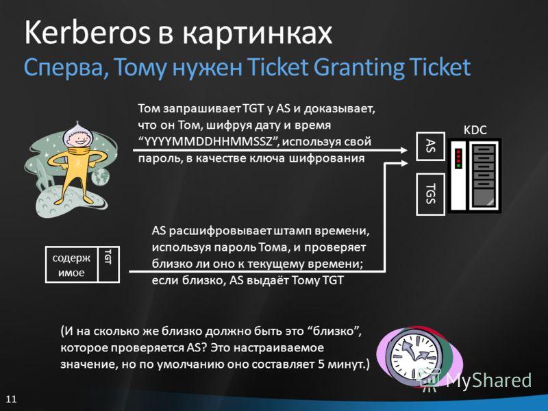 11 Kerberos в картинках Сперва, Тому нужен Ticket Granting Ticket KDC AS TGS (И на сколько же близко должно быть это близко, которое проверяется AS? Это настраиваемое значение, но по умолчанию оно составляет 5 минут.) Том запрашивает TGT у AS и доказ